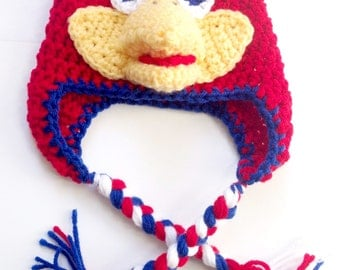 PATTERN** Crochet Jayhawk Hat Pattern, Jayhawk Hat, Crochet Hat Pattern, All Sizes, Newborn to Adult