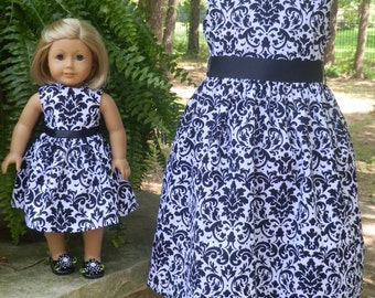Matching Girl and Doll Dresses...Black and White Damask