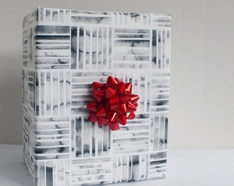 Black and White Watercolor Wrapping Paper - Set of 3 Sheets
