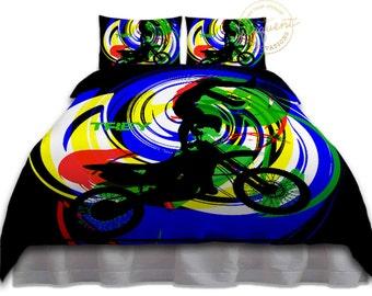 Orange Motocross Kids Bedding Gray Atv Bedding Motocross