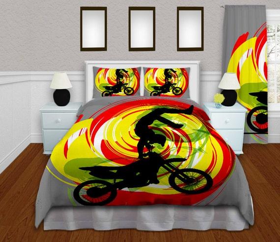 Motocross Comforter Set, Dirt Bike Comforter, Gray Yellow, Red, Green ...