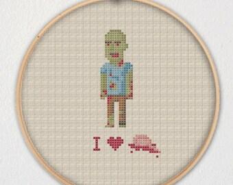 Zombie I Heart Brains Cross Stitch Pattern