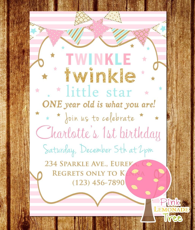 Twinkle Twinkle Little Star Birthday Invitation Pink Gold