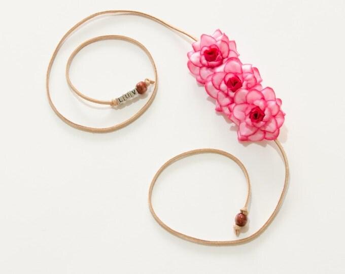 Hot Pink Rose Side Flower Crown