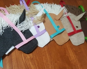Stick Horse Party Favor Set with Yarn Manes Ready to Stuff and Add Stick