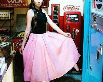1950s Retro Inspired Pink Pleated Full Circle Skirt Size Small Medium