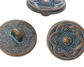 Zinc metal alloy Shank Button Metal Buttons Round Antique Copper Single Hole Flower Pattern - Pack of 10