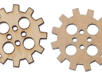 Wood Sewing Buttons Scrapbooking Gear 4 Holes Natural 20mm - 16 Pieces