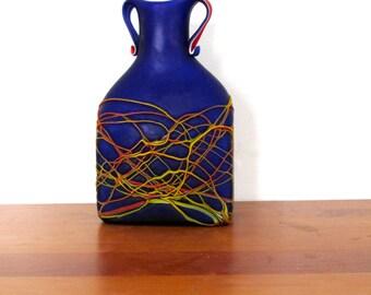 Azerbaijan Glassware signed Cobalt Blue Drip Vase