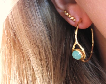 Gold Gemstone Hoop Earrings, Aqua Chalcedony, Carnelian Ethnic Hoops