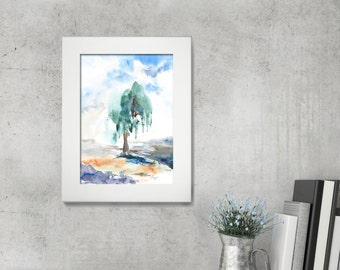 Tree Painting, ORIGINAL Watercolor Painting, Green, Nature, Watercolour Art