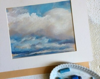 Clouds Painting ORIGINAL Soft Pastel Painting, Sky Blue, Clouds, Art