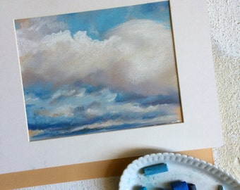 Clouds Painting, ORIGINAL Soft Pastel Painting, Sky Blue, Clouds, Art