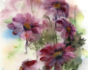 Purple floral painting, watercolor painting of flowers, ORIGINAL painting, floral modern art