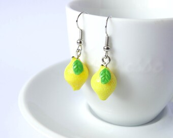 Silly yellow lemon earrings dangle fruit kawaii charms summer jewelry lemonade