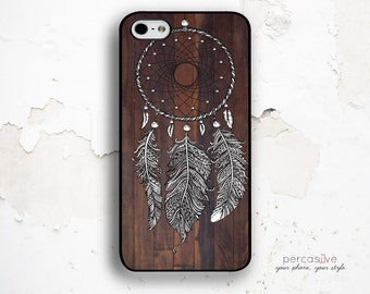 Feather iPhone 6 Case - iPhone 5C Case, iPhone 5S Case, iPhone 6 Plus Case Wood Print, iPhone SE Case, iPhone 6s Dreamcatcher Case .1210