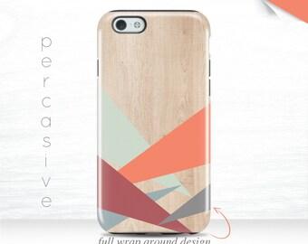 iPhone 6 Case Geometric Design iPhone 6s Case Wood Print iPhone 7 Plus Orange iPhone 5s Case , 5c Case Modern iPhone 7 Geo Case  06h
