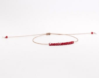 Noirmoutier red square Crystal, beige or red cord bracelet