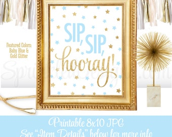 Sip Sip Hooray - Sip n See Party Sign, Baby Blue Gold Glitter Printable 8x10, Twinkle Twinkle Little Star Boy Baby Shower Decorations