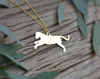 Jaguar pure brass pendant - laser cut brass necklace