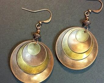 Metal Earrings, Boho Earrings, Hammered Metal Earrings, Copper Earrings, Dangle Earrings, Drop Earrings