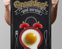 """Chalkboard Kitchen-Food-Cuisine-First Meal-Breakfast Menu-Coffee-Bacon-Toast-Alarm clock with fried eggs-Good Morning-Print 8.5x11"""" No.926"""