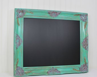 Decorative Chalkboard Magnetic Memo Board, Ornate Hand Painted Cottage Chic Farmhouse Kitchen Wall Decor, Framed Chalkboard Wedding Decor