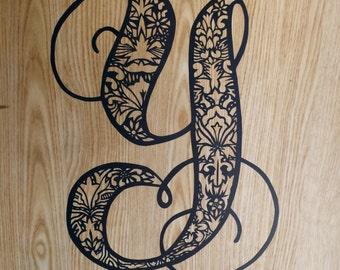 Papercut Letter, Initial, number, or monogram - Custom, Handcut