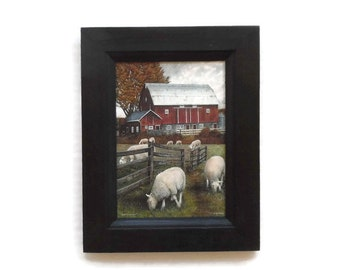Sheep and Barn Print, Primitive Home Decor, Shiloh Creek Farm, Country Art, Wall Hanging, Handmade, 9x7, Custom Wood Frame, Made in the USA