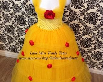 Belle Tutu Dress, Princess Belle Costume, Beauty and the Beast Tutu Dress, Belle Costume, Princess Tutu Dress, Yellow Tutu Dress