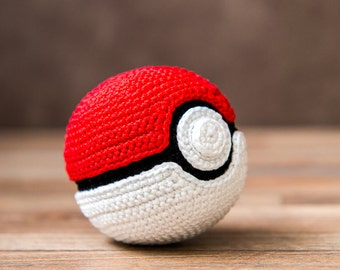 "Crochet Pattern of Pokeball from ""Pokemon"" (Amigurumi tutorial PDF file)"