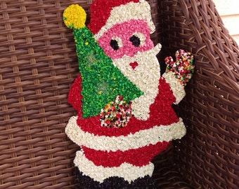 Vintage Melted Plastic Popcorn Santa with Tree