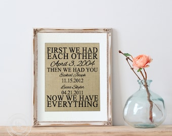 First We Had Each Other, Gift from Wife and Kids, Office Decor, Family Date Sign, Important Dates, Personalized Birthday Gift for Husband