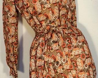 FREE SHIPPING  1970's Abstract  Shirt Dress