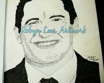 "Trent Reznor Stippling Portrait Artwork Print 8""x10"", Dots in Ink NIN Nine Inch Nails"