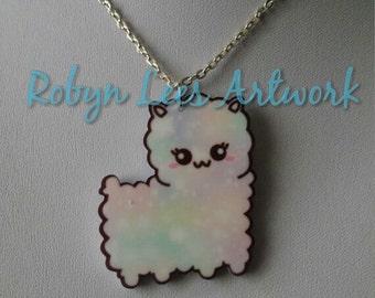 Cute Rainbow Pastel Llama Alpaca Cartoon Necklace on Silver or Gold Crossed Chain