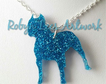 Glittered Blue Pitbull Laser Cut Dog Necklace on Silver Crossed Chain