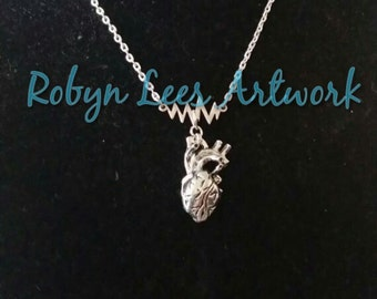 SALE Silver 3D Anatomical Human Heart & Sound Wave Necklace on Silver Crossed Chain. Anatomically Correct