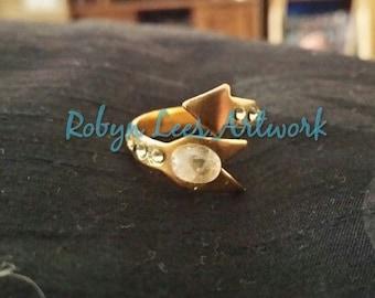 Swarovski Crystal and Natural Indian Rainbow Moonstone Arrow Ring Size N