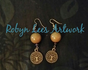 Bronze Yggdrasil Tree of Life Earrings with Large Olive Beads and Dark Purple Faceted Beads