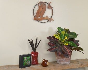 Owl on a Branch Metal Wall Sculpture, Wall Decoration,  Wall Hanging, Rustic Patina Home Decor, Garden Wall Art WS1206