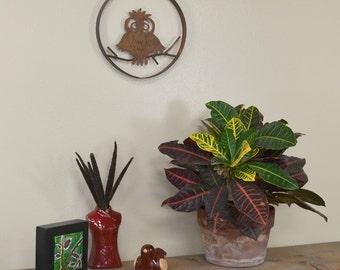 Cute Owl on a Branch Metal Wall Sculpture, Wall Decoration, Sculpture, Wall Hanging, Rustic Home Decor, Garden Wall Art   WS1208