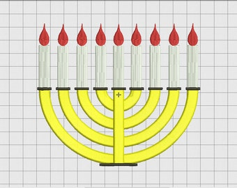 Menorah Hanukkah 9 Candle Embroidery Design in 3x3 4x4 5x5 and 6x6 Sizes