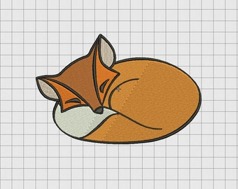 Fox Sleeping Embroidery Design in 4x4 and 5x7 Sizes