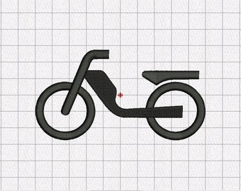 Bicycle Bike Moped Silhouette Embroidery Design in 2x2 3x3 4x4 and 5x5 Sizes