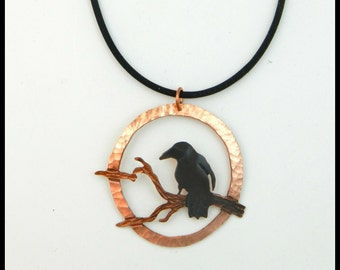 crow necklace, crow pendant, raven jewelry, crow art, copper crow jewelry, statement necklace, corvid jewelry, goth crow, rook necklace