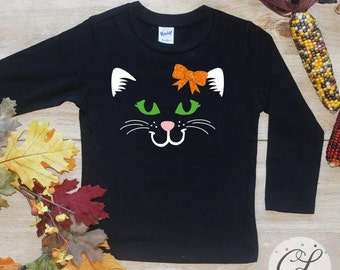 Cat Face Bodysuit or Shirt / Baby Girl Outfit First Halloween Baby 1st Trick Treat Kitty Cat Costume Baby Girl Tee Toddler October 161