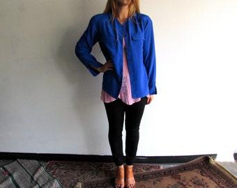 S A L E Vintage 80's Royal Blue Button Up // Rena Rowan for Saville