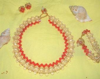 Elegant pink and red crystal set Necklace, Bracelet, Earrings