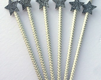 Paper Straws with Glitter Stars